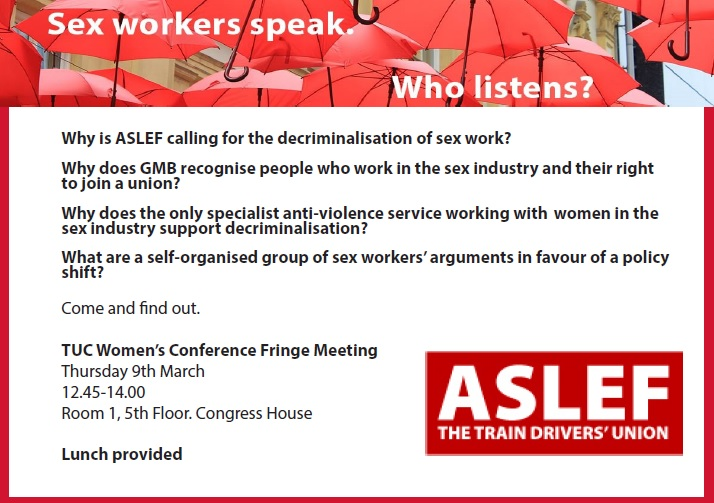 Invitation to a fringe meeting. Title: Sex workers speak. Who listens?