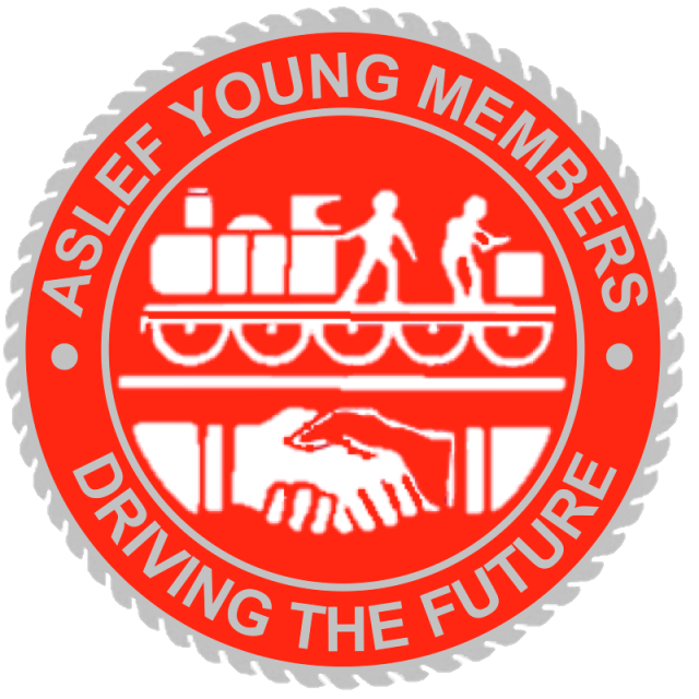 """A red circular badge with silver edging. In the centre there is a train and a handshake, and around the edge it says 'ASLEF YOUNG MEMBERS DRIVING THE FUTURE"""""""