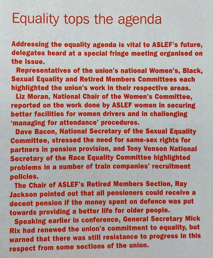 An article with red text on a grey background, detailing some of the comments made at conference regarding equality.