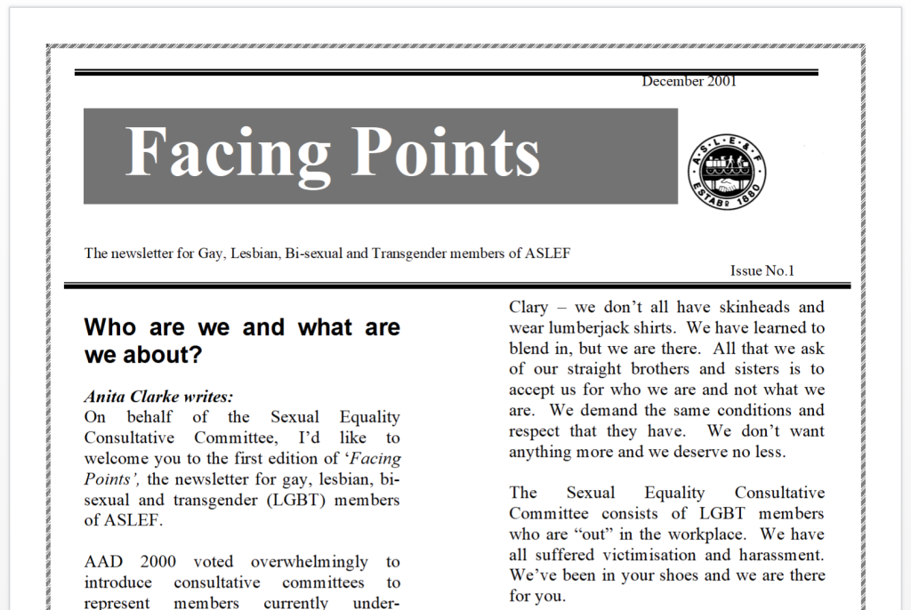 A newsletter with the heading 'Facing Points' and subheading 'the newsletter for Gay, Lesbian, Bisexual and Transgender members of ASLEF'