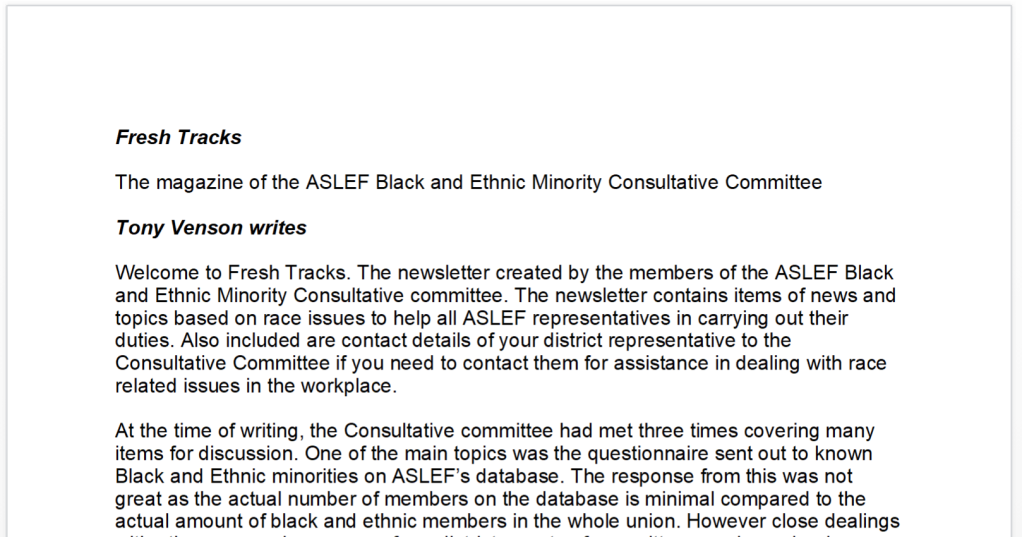 A newsletter with the heading Fresh Tracks and subheading 'The magazine of the ASLEF Black and Ethnic Minority Consultative Committee'