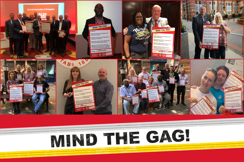 A collage of images of groups and individuals holding up their signed version of the Mind the Gag pledge. At the bottom is the Mind the Gag logo.