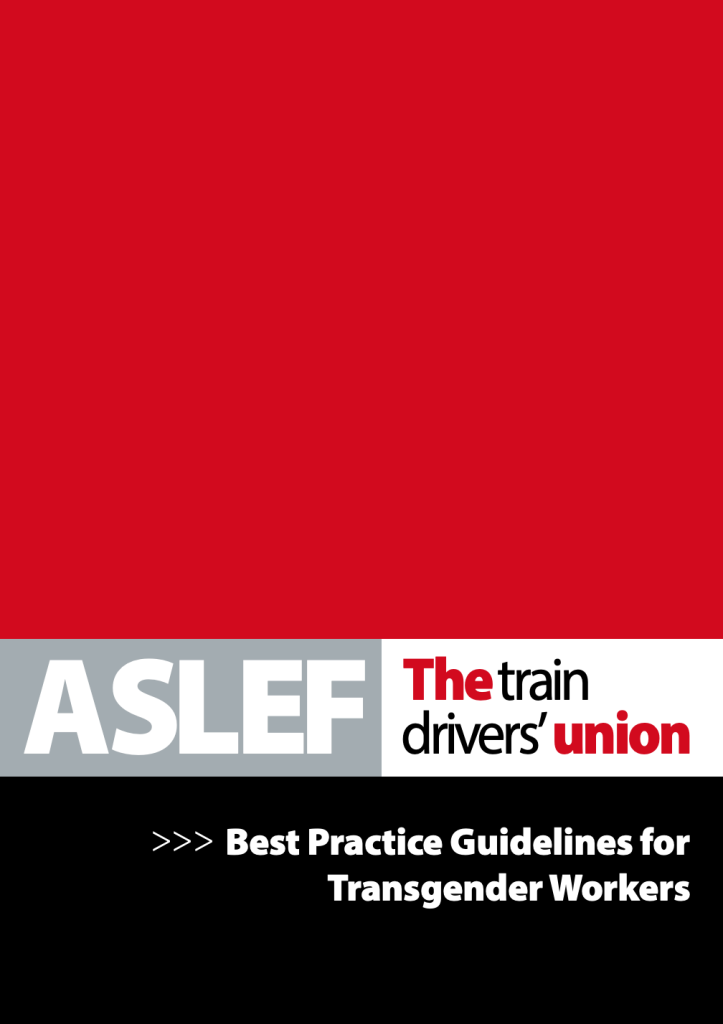 A red and black booklet cover branded 'ASLEF: the train drivers' union' and with the title 'Best practice guidelines for transgender workers'